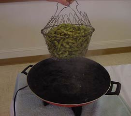 Photo of edamame in cooking basket